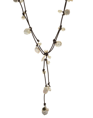 Louise mixed pearl Necklace - chocolate/white