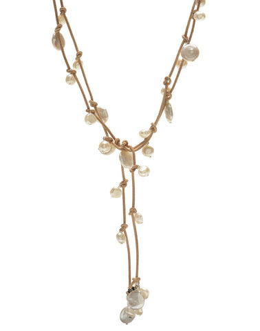 Louise mixed pearl Necklace - natural/white