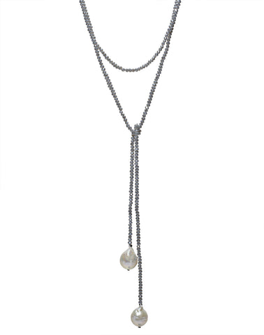 Petra Lariat, denim crystals/baroque pearls