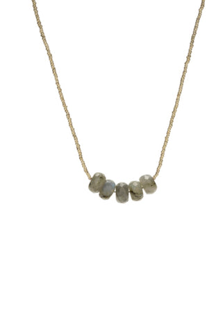 Vera short Necklace - white/labradorite