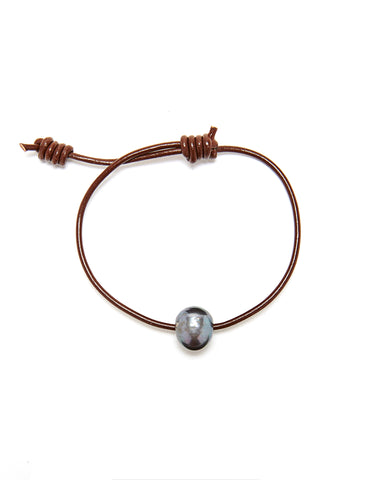 Victoria single pearl bracelet - chocolate/grey