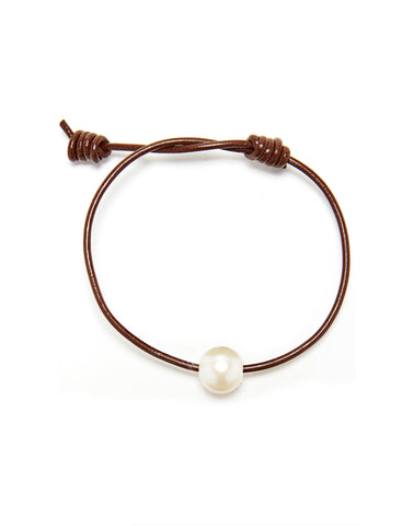 Victoria single pearl bracelet - chocolate/white