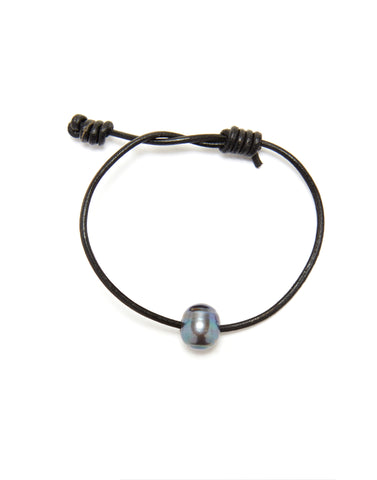 Victoria single pearl bracelet - black/grey