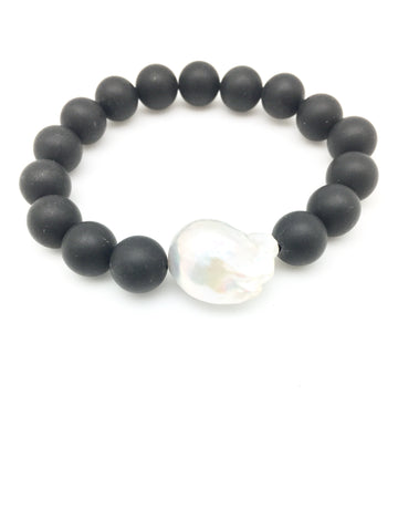 Annie baroque - black onyx / white baroque pearl