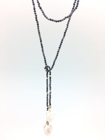 Iselia deluxe, blue sapphire/baroque pearls