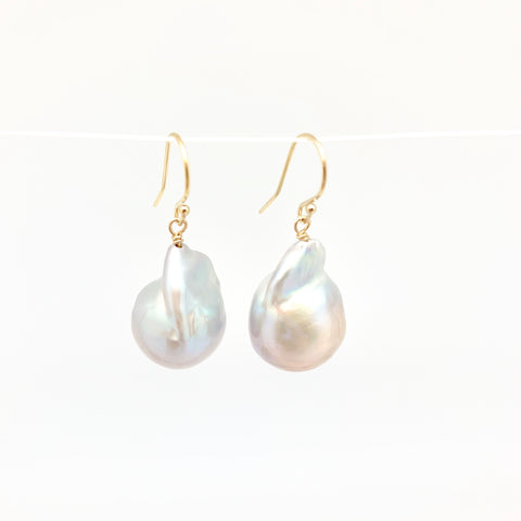 Baroque Earrings - gold/light grey