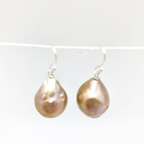 Baroque earrings - silver/champagne