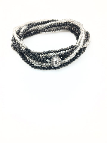 Petra combo bracelet/necklace -black/smokey/slate
