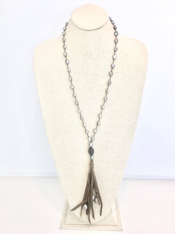 Ella Necklace - grey/taupe