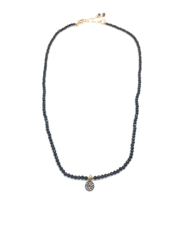 Diamond mini necklace - black spinel