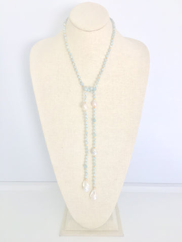 Alice Lariat - aquamarine/white