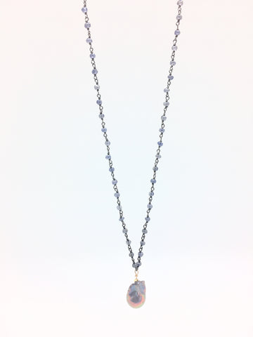 Diddi Long - iolite/peacock grey baroque pearl