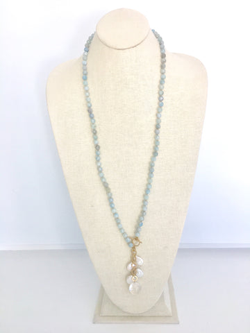 Ellinor Clasp Necklace - aquamarine/crystal