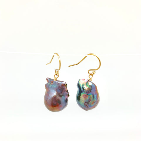 Baroque earrings - gold/peacock