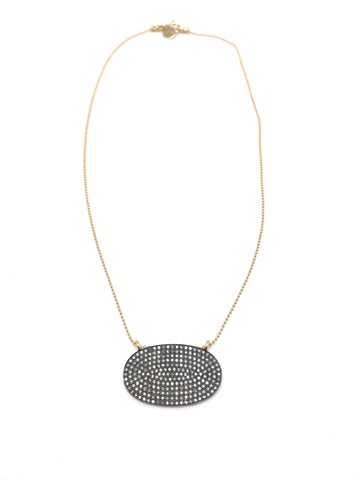 Diamond oval necklace- large - diamond