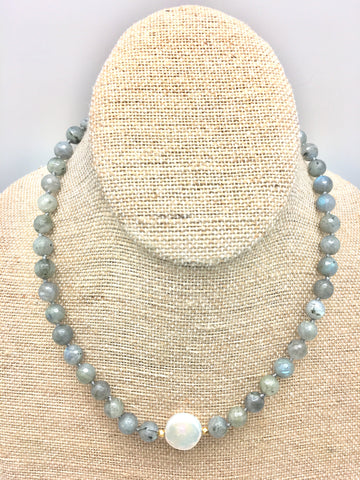 Ellinor Short Necklace - labradorite/pearl