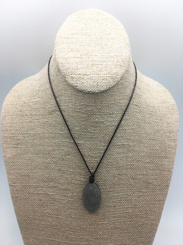 Diamond drop necklace - diamond/leather