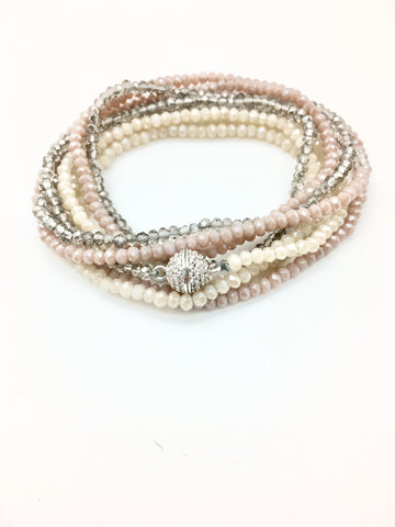 Petra Combo Bracelet/Necklace - nude/rose/smokey