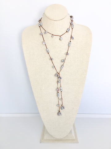 Sofie Lariat - grey/brown