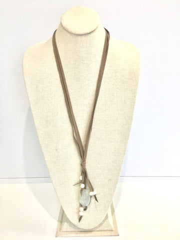 Camilla suede necklace - taupe/white/aqua