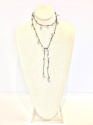Louise mixed pearl Necklace - black/grey