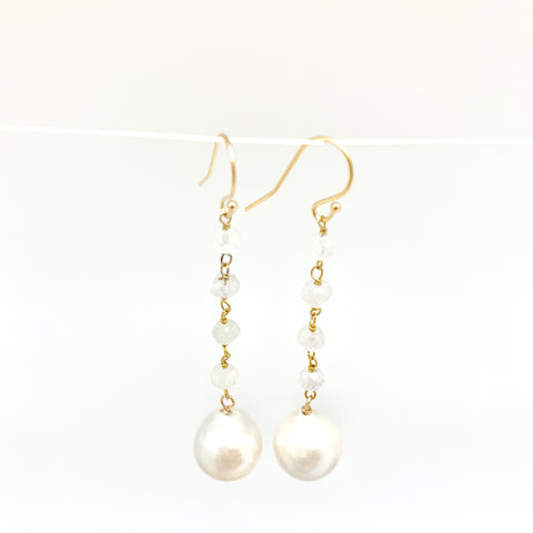 Dangle baroque earrings - white moon, white pearl
