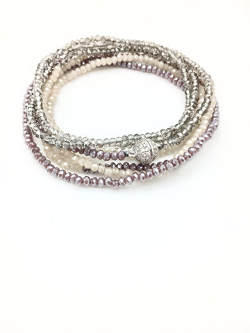 Petra Combo Bracelet/Necklace - plum/nude/smokey
