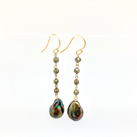 Dangle baroque earrings - pyrite, peacock pearl.