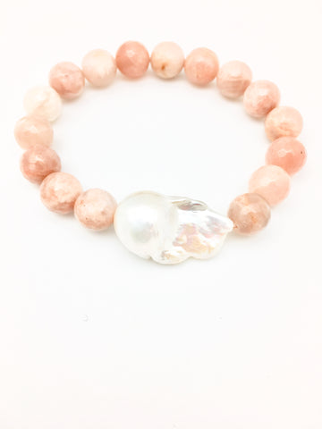 Annie baroque, pink moonstone/white baroque pearl