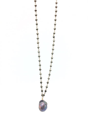 Diddi Long - pyrite/peacock grey baroque pearl
