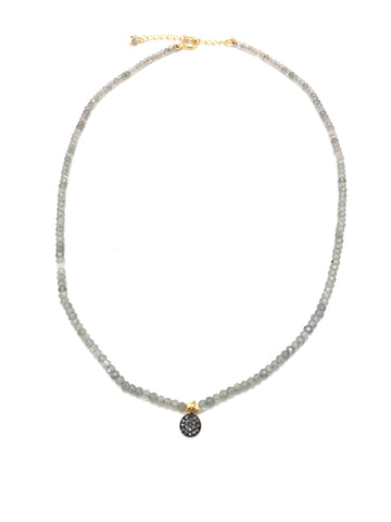 Diamond mini necklace - labradorite