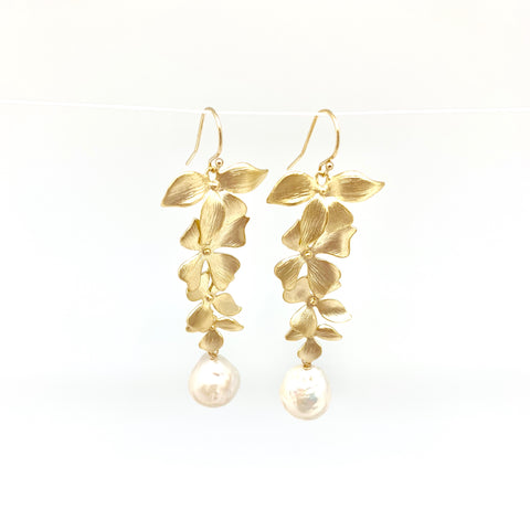 Disa earrings -  long/gold