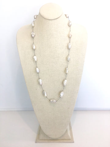 Elsa silk necklace, baroque pearls