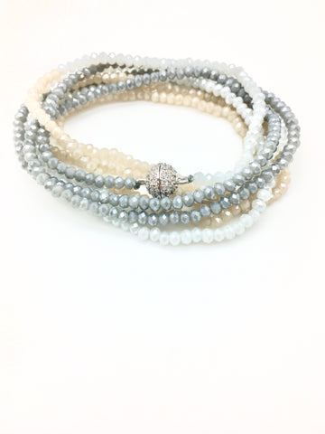 Petra Combo Bracelet/Necklace - aqua/nude/denim