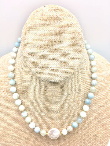 Ellinor Short Necklace - aquamarine/pearl