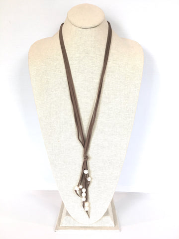 Camilla suede necklace - taupe/white