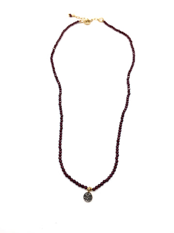Diamond mini necklace - garnet