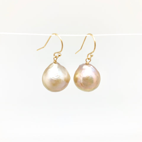 Baroque earrings - gold/champagne