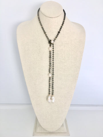 Alice Lariat - pyrite/white baroque  pearls
