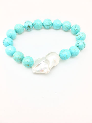 Annie baroque, turquoise/white baroque pearl