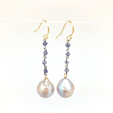Dangle Baroque Earrings - iolite, light grey pearl