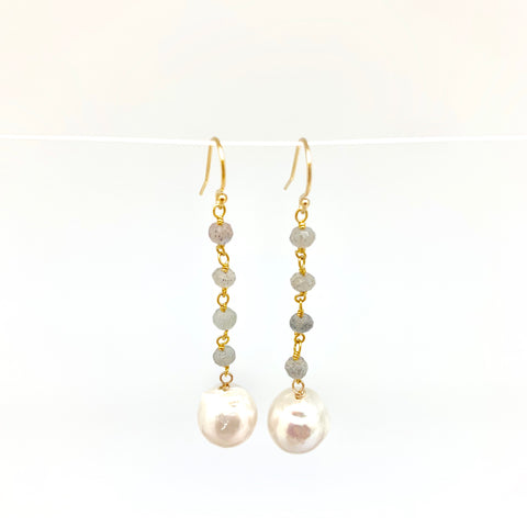 Dangle baroque earrings - labradorite, white pearl