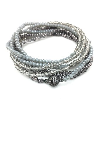 Petra Combo Bracelet/Necklace - slate/smokey/denim