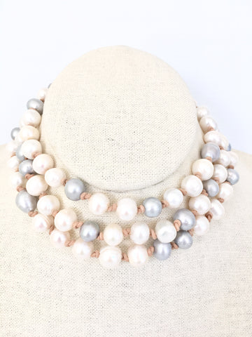 Ellen necklace - natural/white/light grey