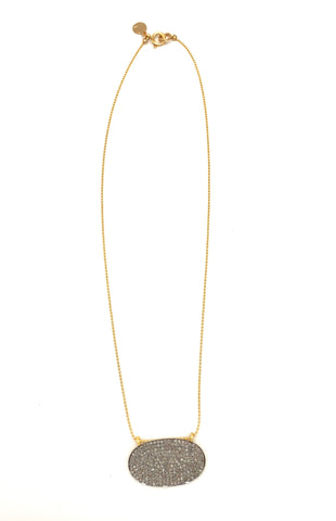 Diamond oval necklace, small-diamond