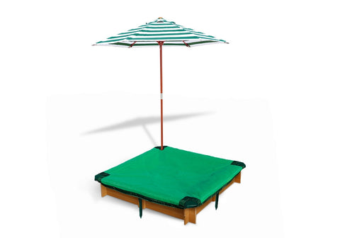 Interlocking Sandbox with Cover and Umbrella