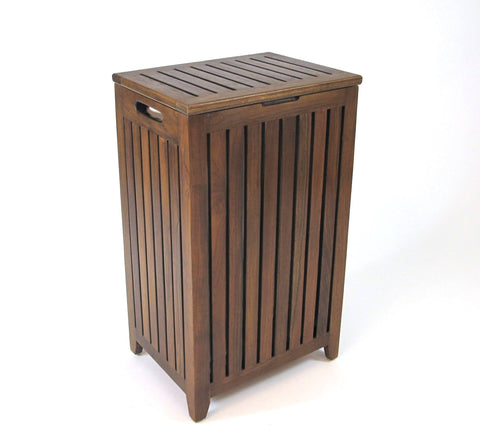 Genuine Teak Apartment Hamper with Laundry Bag