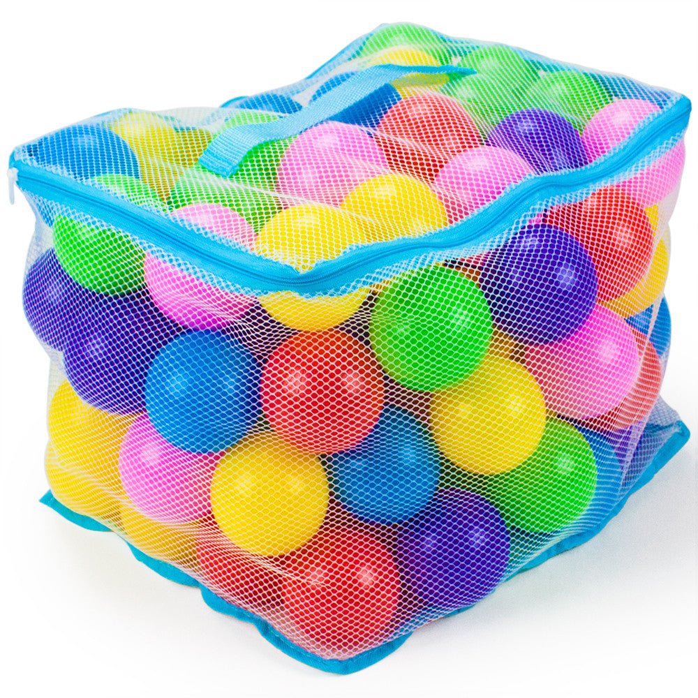 Jumbo 3-inch Multi-Colored Soft Ball Pit Balls with Mesh Case