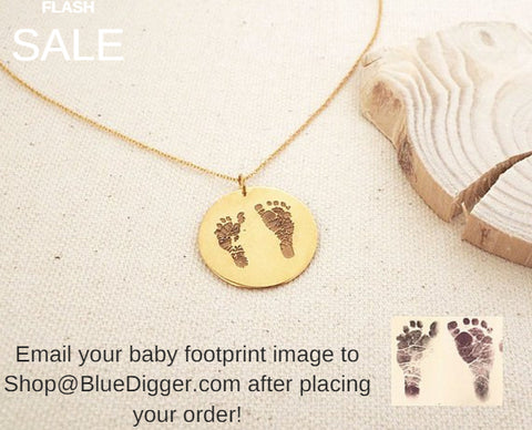 Baby Footprint Disc Necklace - 20% OFF!