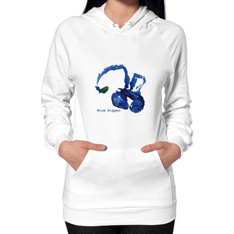 Blue Digger Hoodie - Woman White Blue Digger